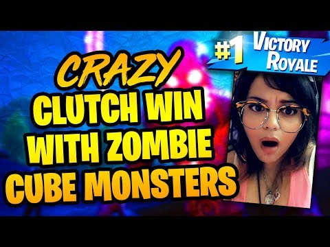 CRAZY CLUTCH FORTNITE WIN WITH ZOMBIE FORTNITEMARES CUBE MONSTERS