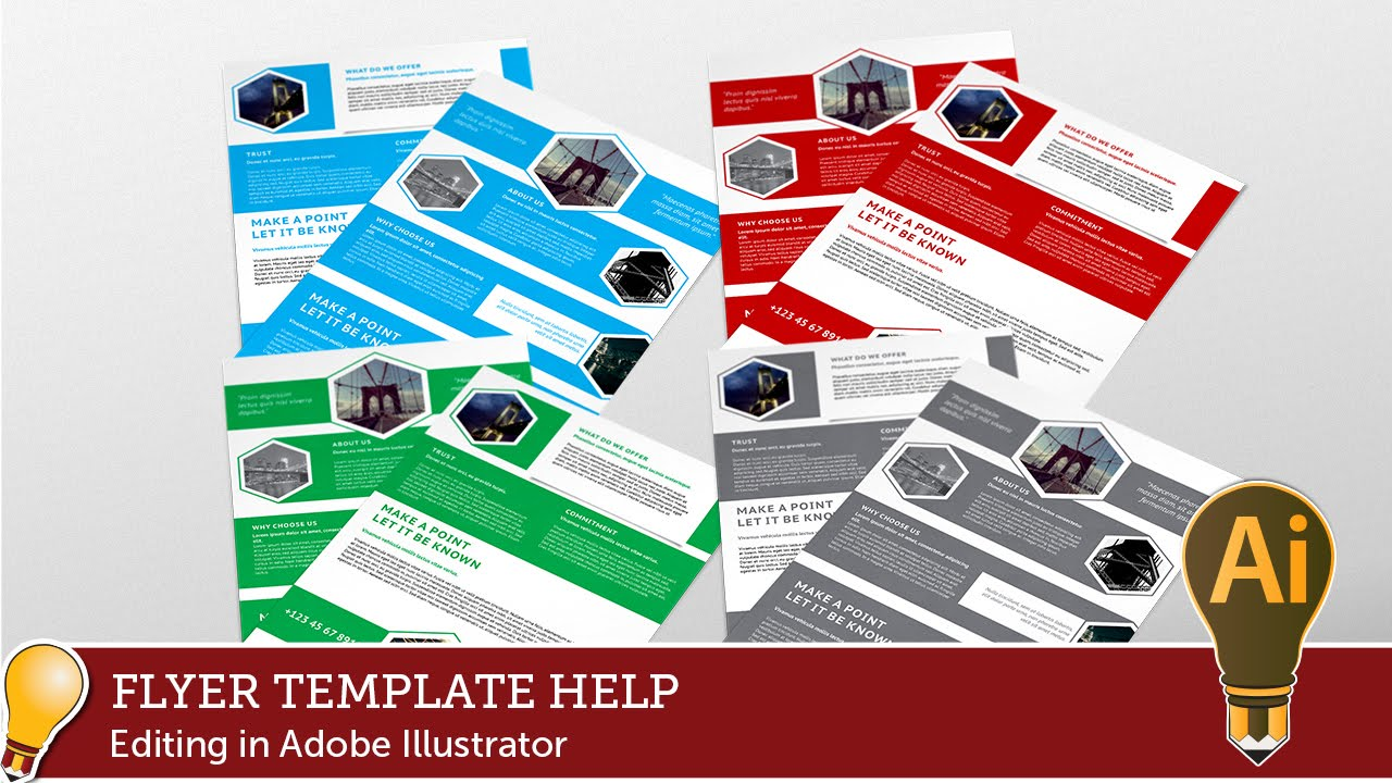 Corporate hive flyer template editing with adobe for Adobe illustrator brochure templates free