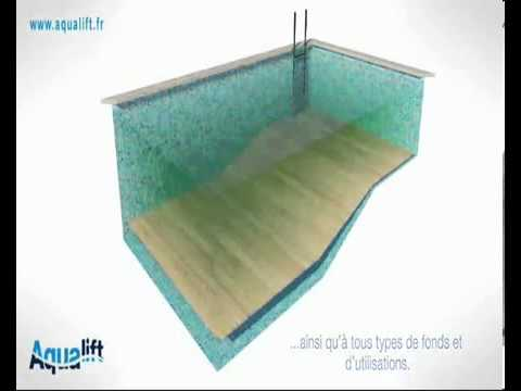 Syst me de piscine fond mobile r glable aqualift youtube for Piscine miroir fond mobile