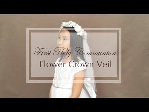 First communion flower crown white floral crown flower girl