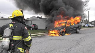 PRE-ARRIVAL VIDEO:  Fully-involved Chevy burns in Coplay, Pennsylvania