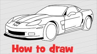 How to draw a car Chevrolet Corvette ZR1