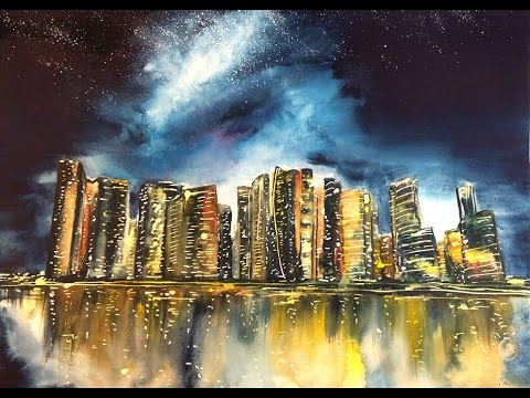 watercolor city at night painting demonstration youtube