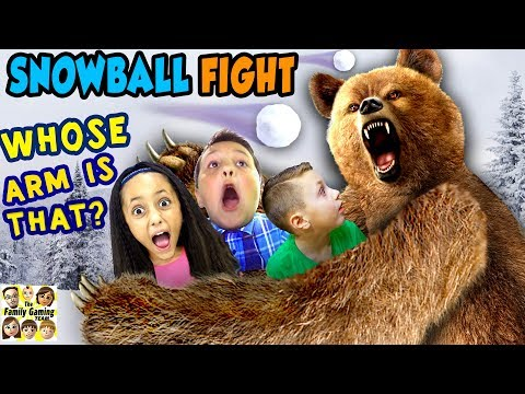 GRIZZLY BEAR ATTACK! 😱 FGTEEV Family Loses Arm? ☠ SNOWBALL FIGHT Gaming Battle Challenge � KING ME!