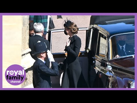 Duchess of Cambridge, Princess Beatrice and Zara Tindall Arrive For Prince Philip's Funeral