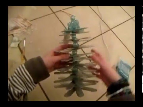 how to make a winter popsicle stick christmas tree diy youtube - Stick Christmas Tree