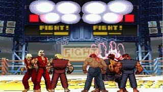 Mugen - 3 fights in 1 - team dark ken vs. team evil ryu - 暴力肯/洗腦肯隊 vs. 殺意隆隊