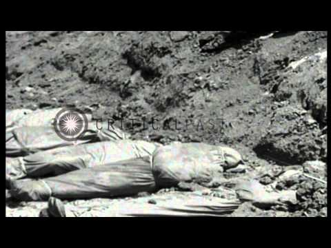Dead bodies of US soldiers are buried at 96th Division Cemetery in Okinawa during...HD Stock Footage