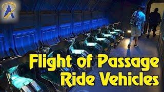 Closer look at Avatar Flight of Passage ride vehicles in Pandora at Animal Kingdom