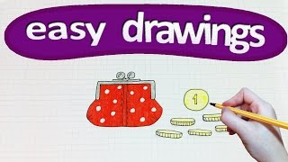 Easy drawings #168  How to draw a purse with money