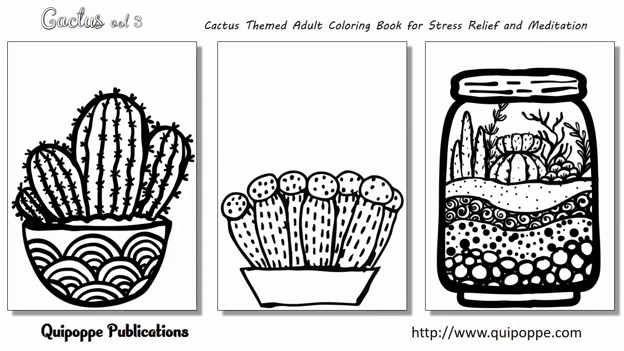Coloring book adult meditation stress - Cactus Vol 3 Cactus Themed Adult Coloring Book For Stress Relief And Meditation By Quipoppe Publ