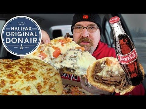 MUKBANG 먹방   Donair Pizza, Donair Sub & Garlic Cheese Sticks • Halifax Donair