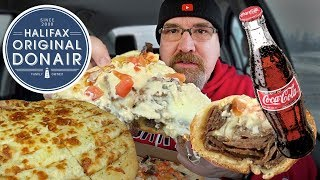 MUKBANG 먹방 | Donair Pizza, Donair Sub & Garlic Cheese Sticks • Halifax Donair