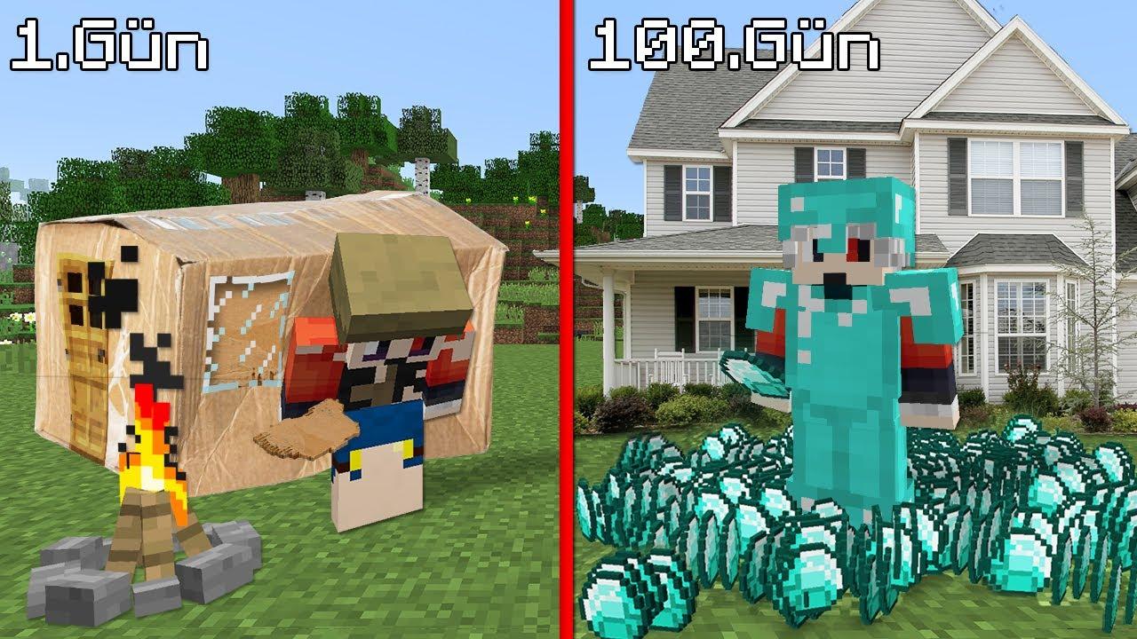 1$ 1 GÜN VS 1000$ 100 GÜN - Minecraft