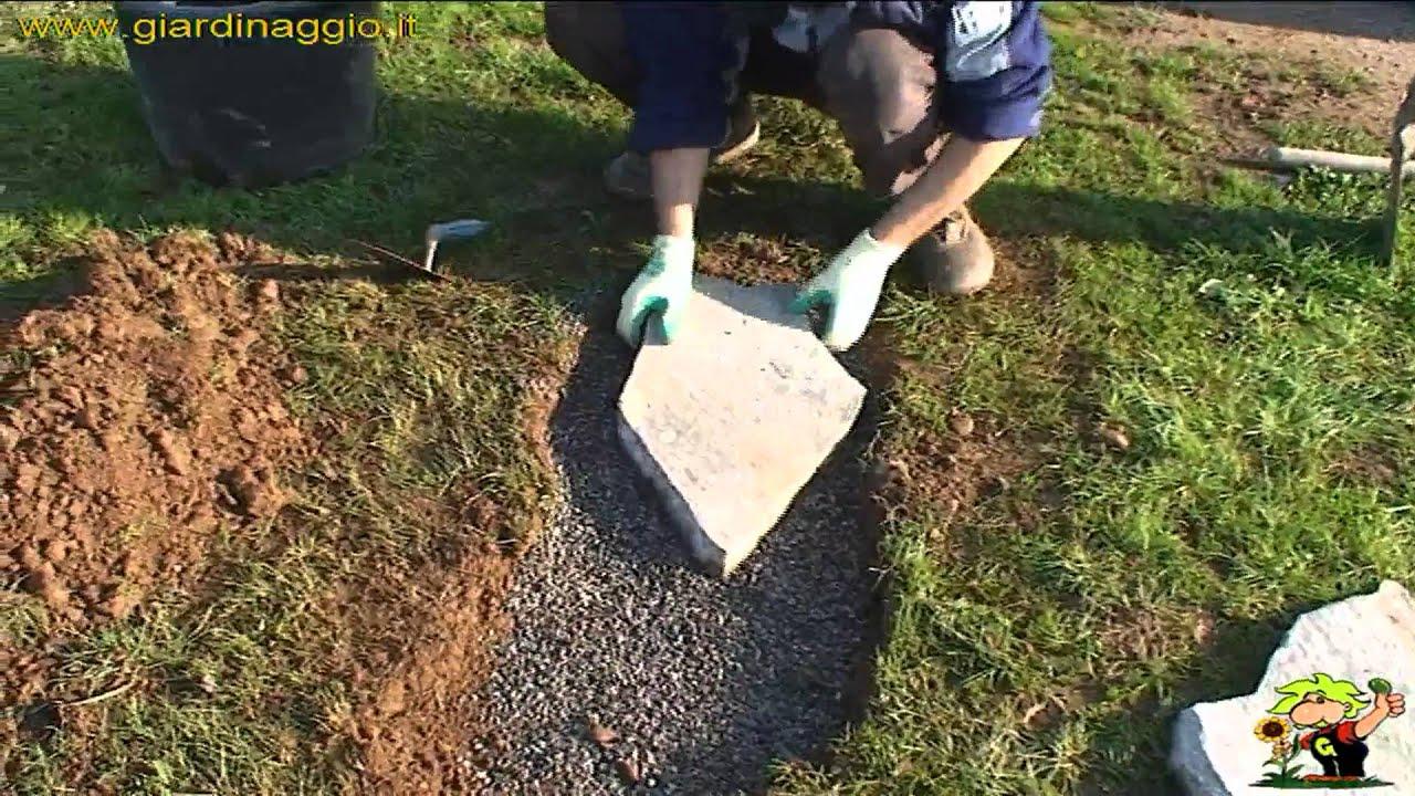 Formazione camminamento in pietre youtube for Aiuole giardino con sassi