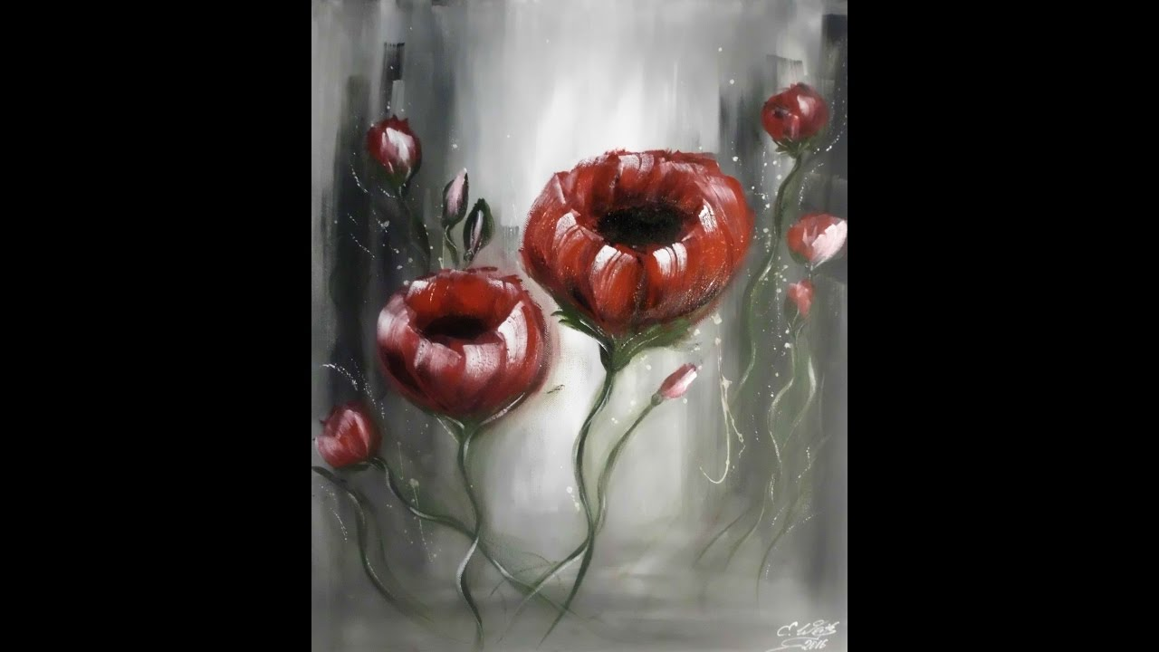 Abstrakte Blumen Malerei In Acryl Acrylmalerei Moderne