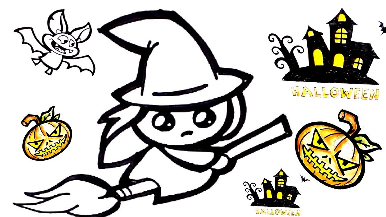 halloween cute witch drawing how to draw cute witch for halloween