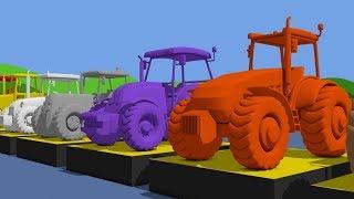 Traktör & Çocuklar ve bebekler | Kolory TRAKTORY dla çocuklar için Çizgi film Animasyon ile Renk öğrenin