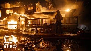 Homes burn as Hillside fire sweeps into San Bernardino