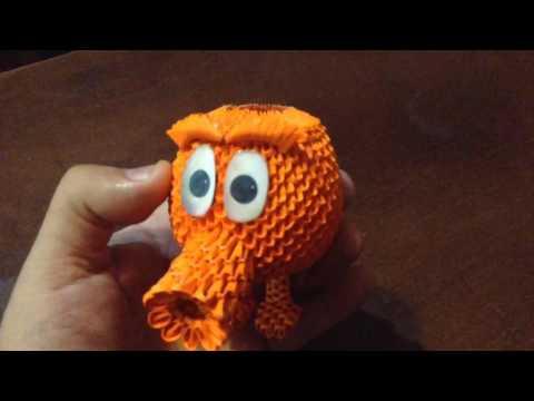 Q Bert de la película Pixels en origami 3D