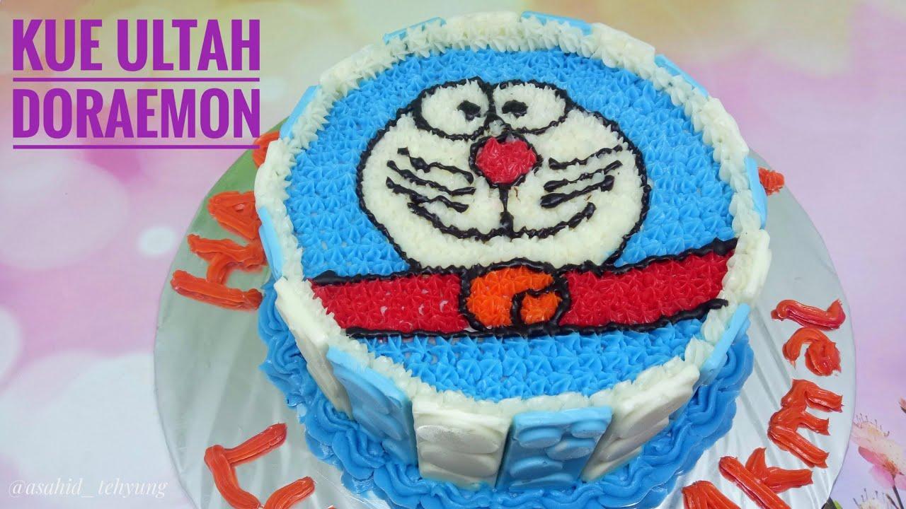 Kue Ulang Tahun Bentuk Doraemon Tutorial Lengkap Kue Ultah Youtube