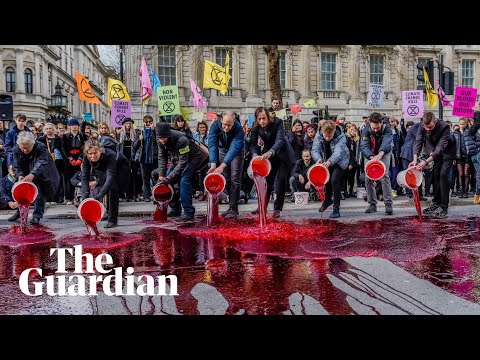 Extinction Rebellion activists pour 200 litres of 'blood' outside Downing Street