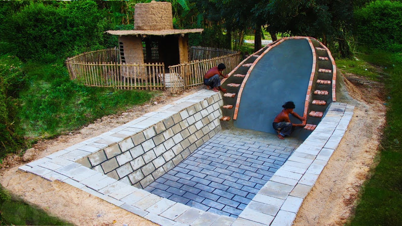 Build underground swimming pool and water slide part 1 - How to build a swimming pool slide ...