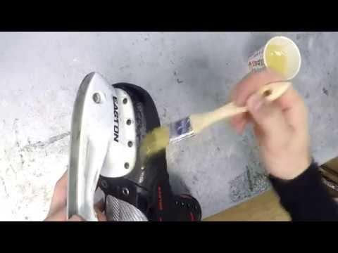 Ремонт подошвы на коньках Easton