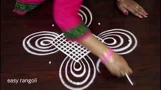 Cute n amazing kolam by easy rangoli Suneetha with 5x1 straight dots || Muggulu