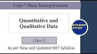 Quantitative and Qualitative Data | Unit-7 Data Interpretation |