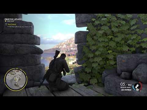 Sniper Elite 4 - LEE-ENFIELD - ZOOM UPGRADE - SAN CELINI ISLAND - PS4 GAMEPLAY