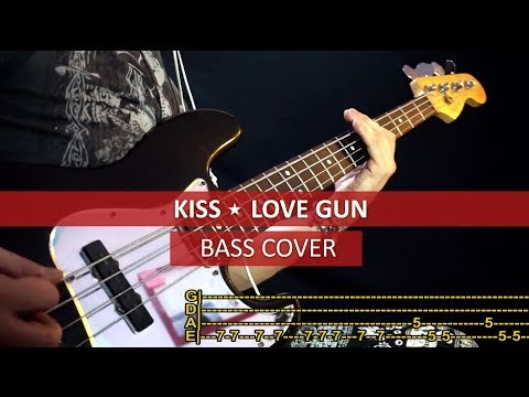 KISS - Love gun / bass cover / playalong with TABS