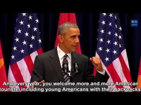 President Obama Addresses Vietnamese People, Ha Noi Vietnam English subtitles