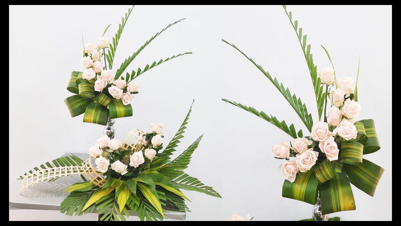 Mẫu cắm hoa NHÀ THỜ , Cắm hoa bàn thờ hoa hồng 2 tầng đẹp Hướng dẫn cắm hoa