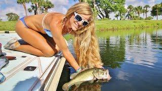 Darcie Goes Florida Freshwater Largemouth & Peacock Bass Fishing on Lake Ida with Live Bait & Lures