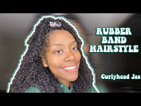 Rubber Band Hairstyle On Natural Hair Curlyhead Jas Youtube
