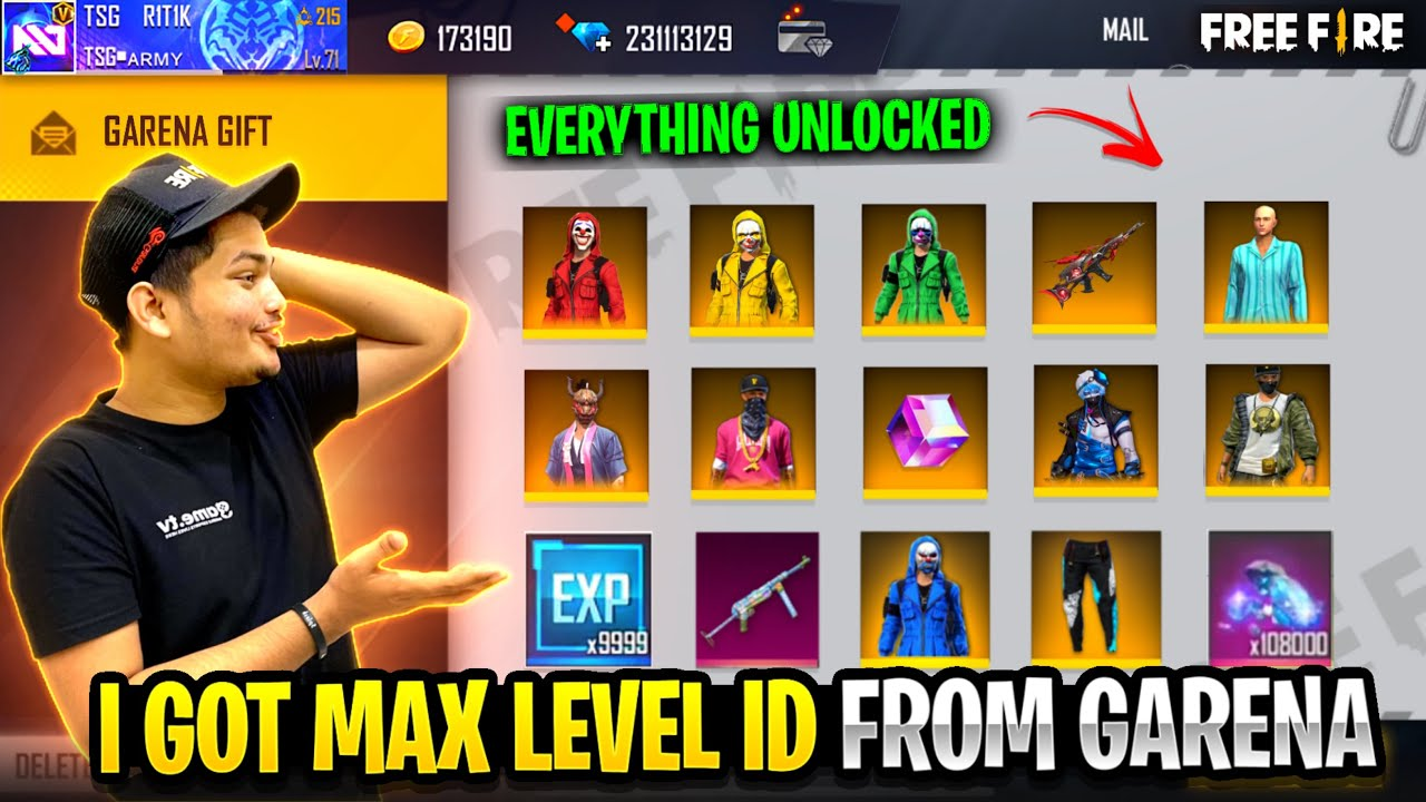 Garena Gave 1 Level Id With Everything Max in It 😱 Unlimited Diamonds & Customs -Garena FreeFire