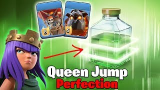 How To Use Perfect Jump Spell In Queen Walk LavaLoonion Attack! Best Queen Walk 3star War Strategy