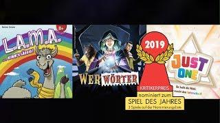Spiel des Jahres 2019: nominiert sind Just One, LAMA und Werwörter