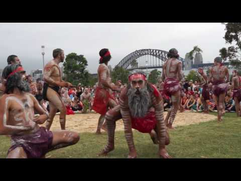 Dancing Aboriginal Men Barangaroo Australia Day 2017