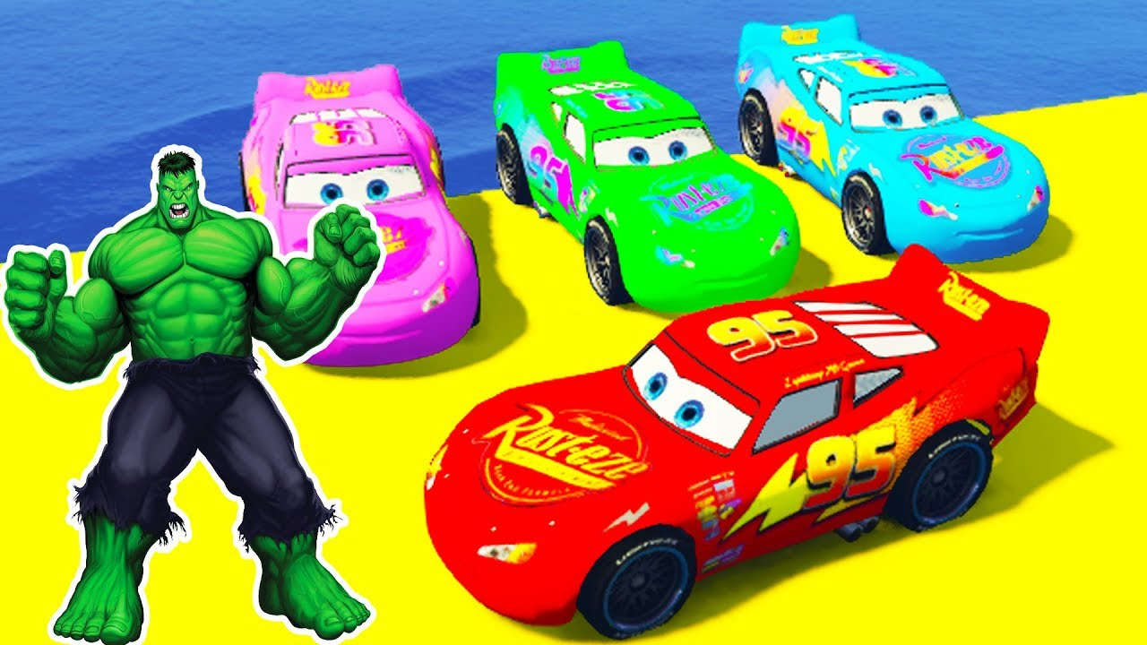 LEARN COLOR McQUEEN CARS - Superheroes Animation Cartoon for Kids & Songs for Children