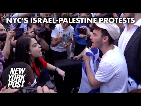 Pro-Palestine and pro-Israel protesters clash in Times Square   New York Post