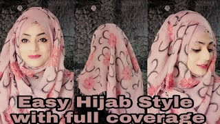 Easy Hijab Style with full front and back coverage    Hijab style    2018