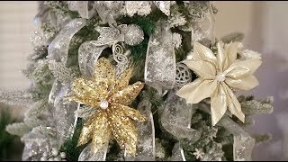 DIY Ribbon Flower|Poinsettias|Dollar Tree Supplies: Ribbon (Silver ...