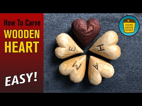 How To Carve Wooden Heart - Easy Gift!