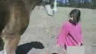مقطع يوتوب طفلة صغيرة تضرب حصان شوف ردة فعل الحصان ..؟.3gp