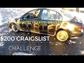 CRAIGSLIST CHALLENGE: $200 BEATER CAR PART 1! Snow Drifting, Crashing into Curbs, and Spray Painted!