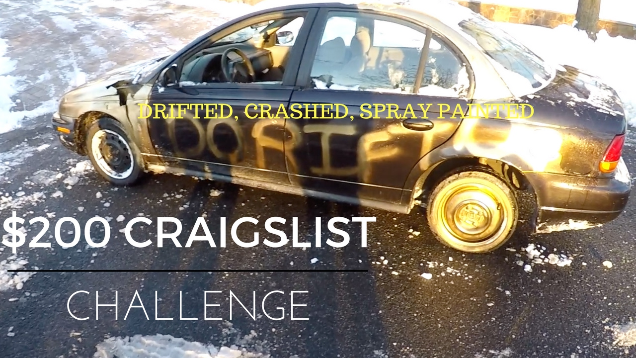 Craigslist Challenge 200 Beater Car Part 1 Snow Drifting Crashing Into Curbs And Spray Painted