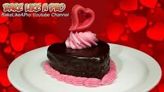 Mini Chocolate Valentine's Cake With Dark Chocolate Ganache