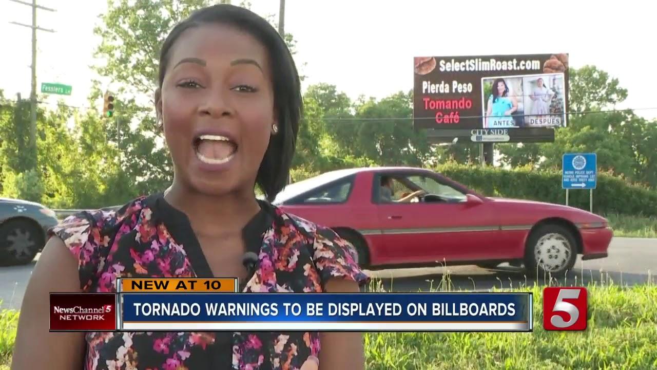 Billboards to display active Tornado Warnings in Nashville